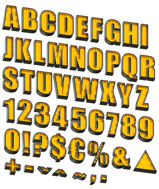 YellowLED font alphabet letters