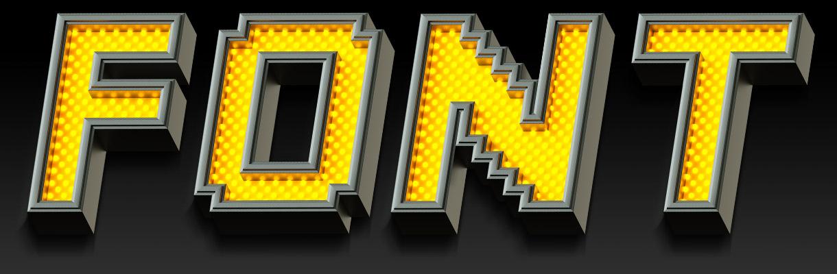 Pixel LED font presentation