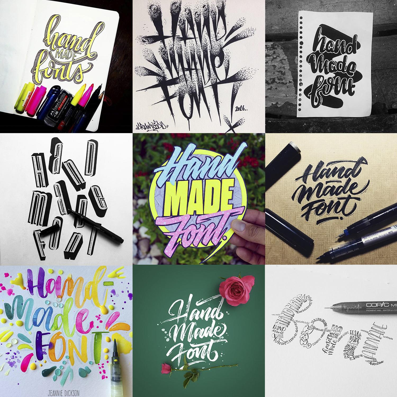 handmade font many logos