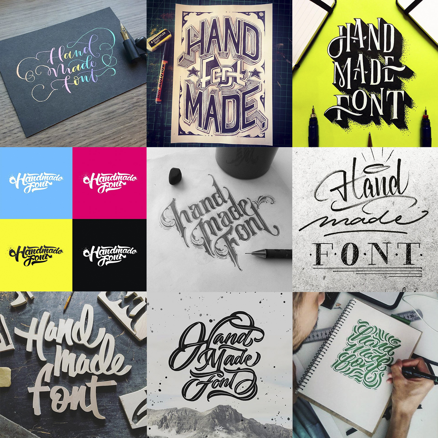 hand made font various creative logos