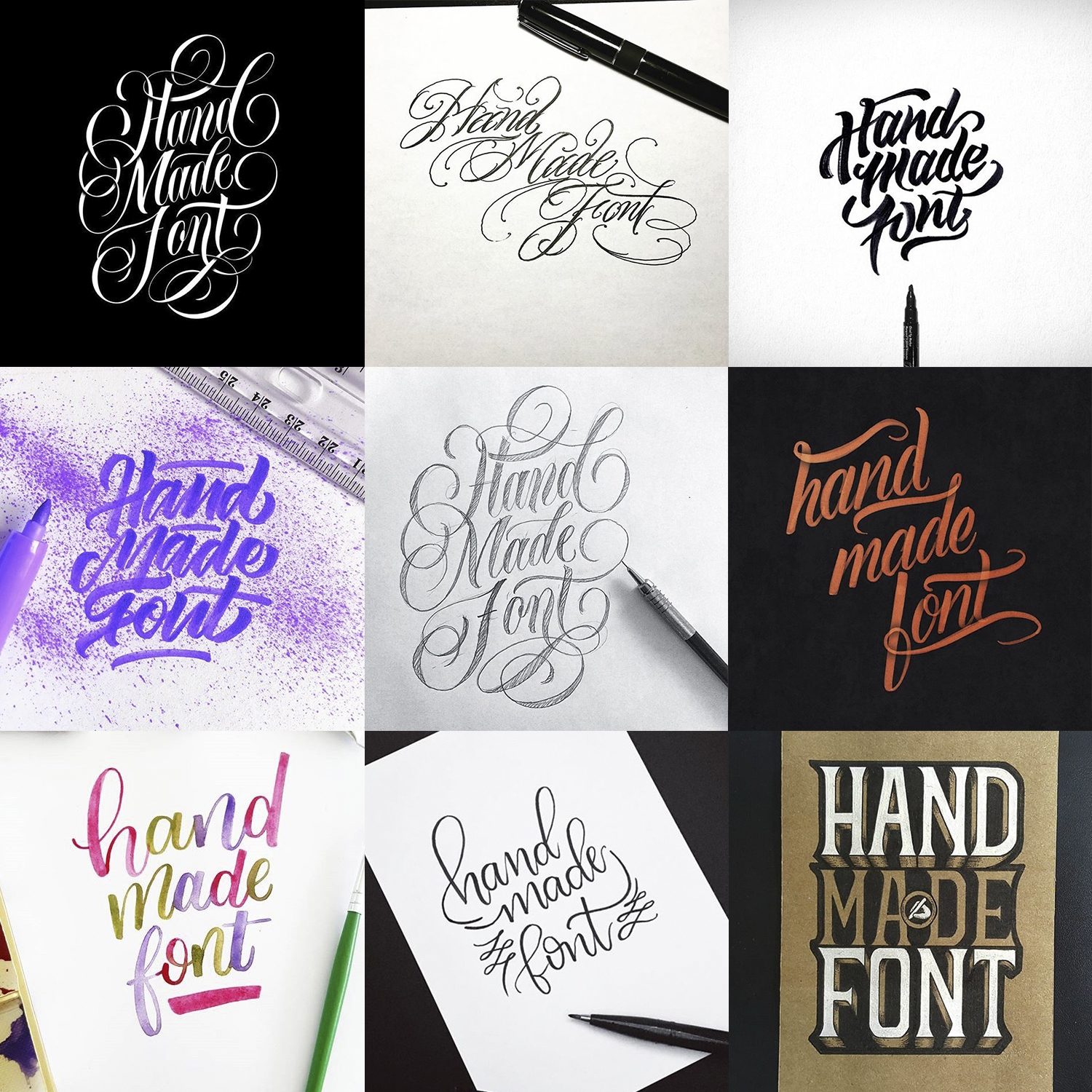 handcrafted logos for handmade font