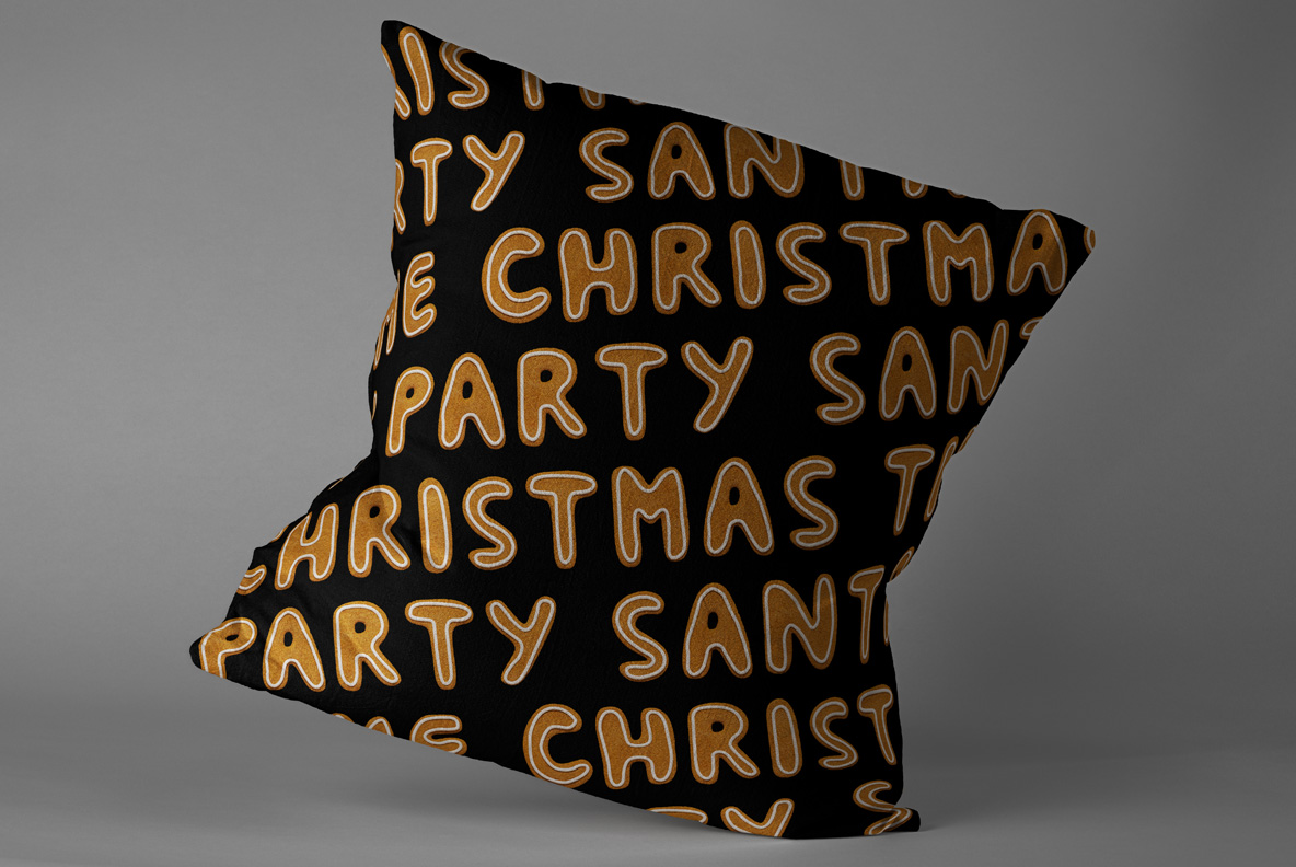 Christmas Cookies Font OpenType SVG. Pillow lettering