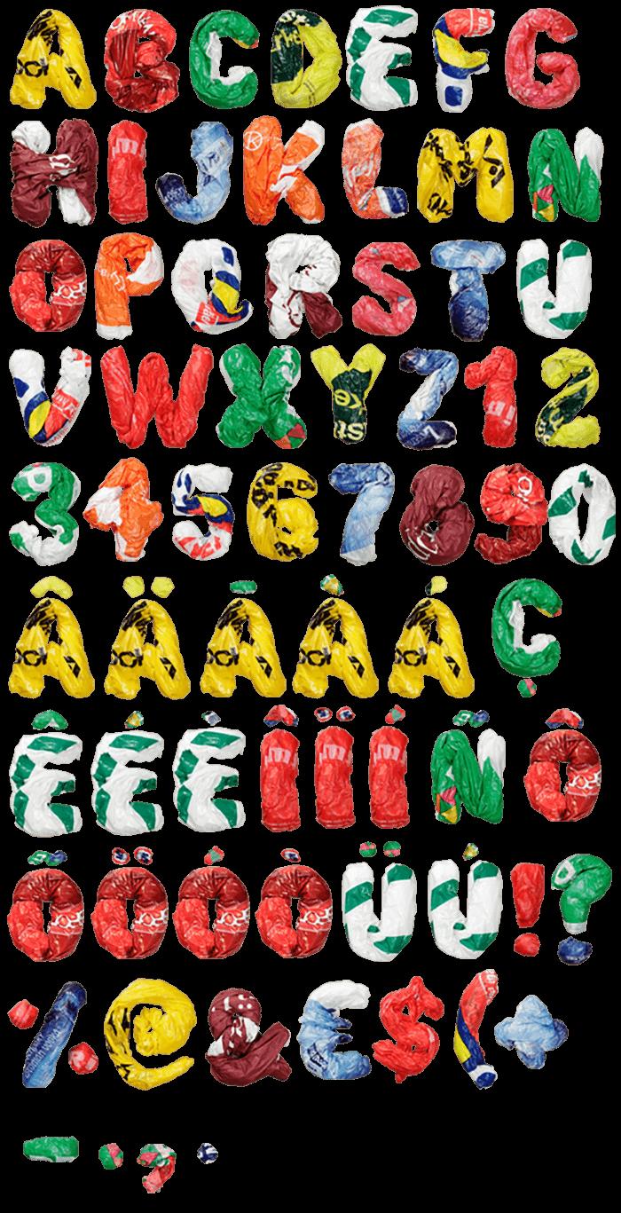 Color Plastic Bags funny font