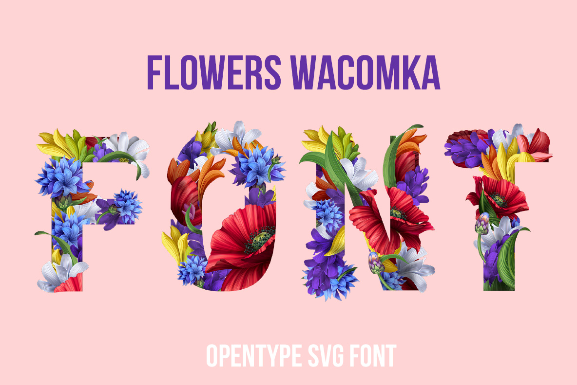 Flowers Font OpenType Font Typography cover