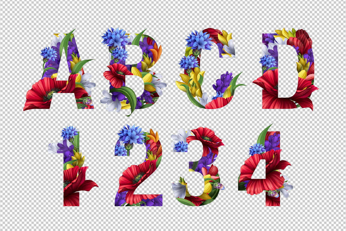Flowers Font. OpenType Font preview on transparency background Photoshop