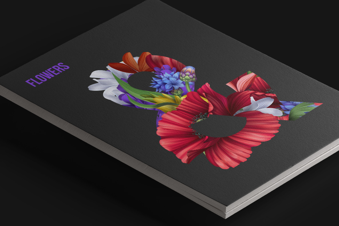 Flowers Font. OpenType Font. Magazine cover