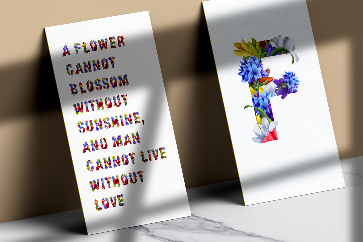 Flowers Font. OpenType Font Poster on wall