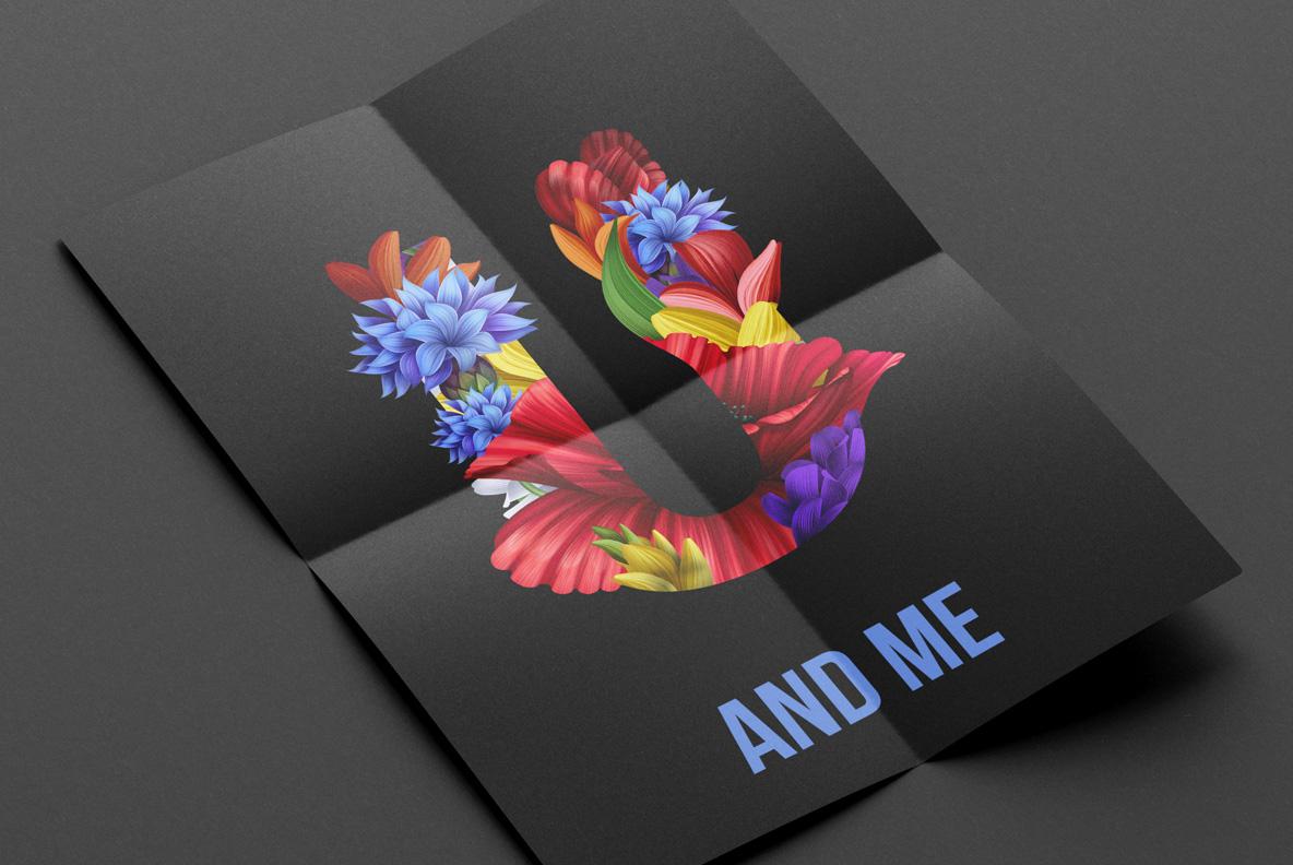 Flowers Font. OpenType Font Black poster.