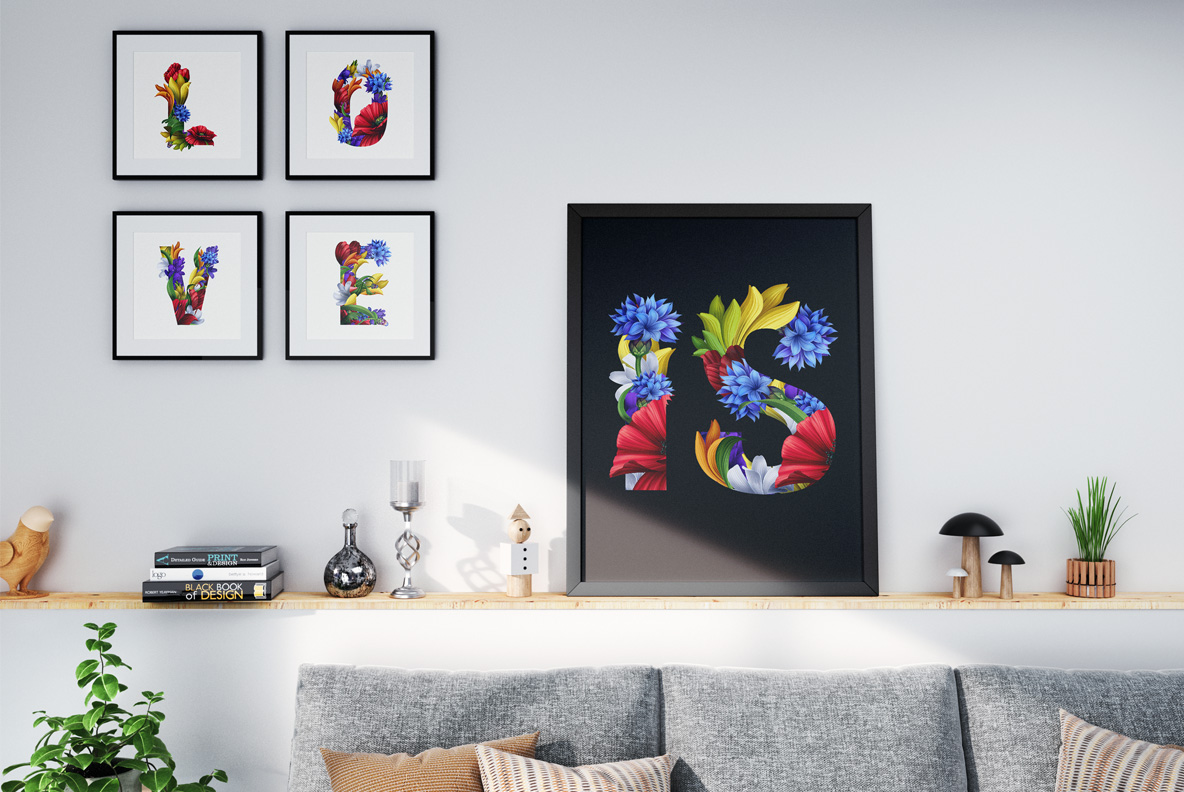 Flowers Font. OpenType Font Pictures on wall