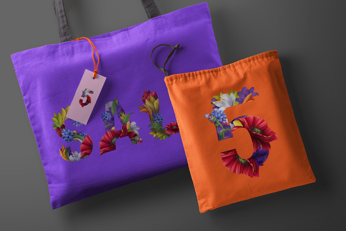 Flowers Font. OpenType Font . Color bags with text