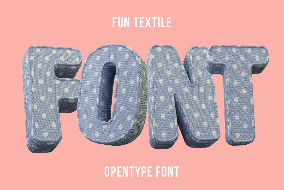 Cover of the Fun Textile Font. 3d Opentype Typeface Made By Handmade Font