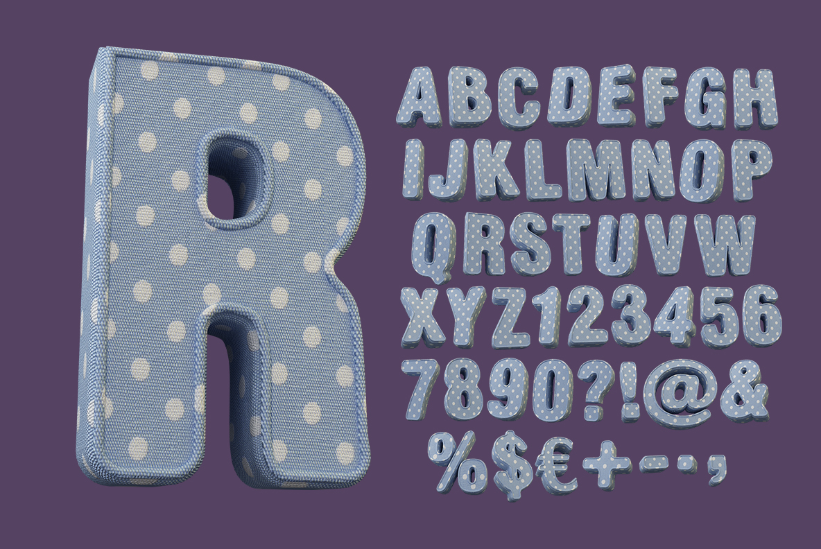 Alphabet of the Fun Textile Font. 3d Opentype Typeface Made By Handmade Font