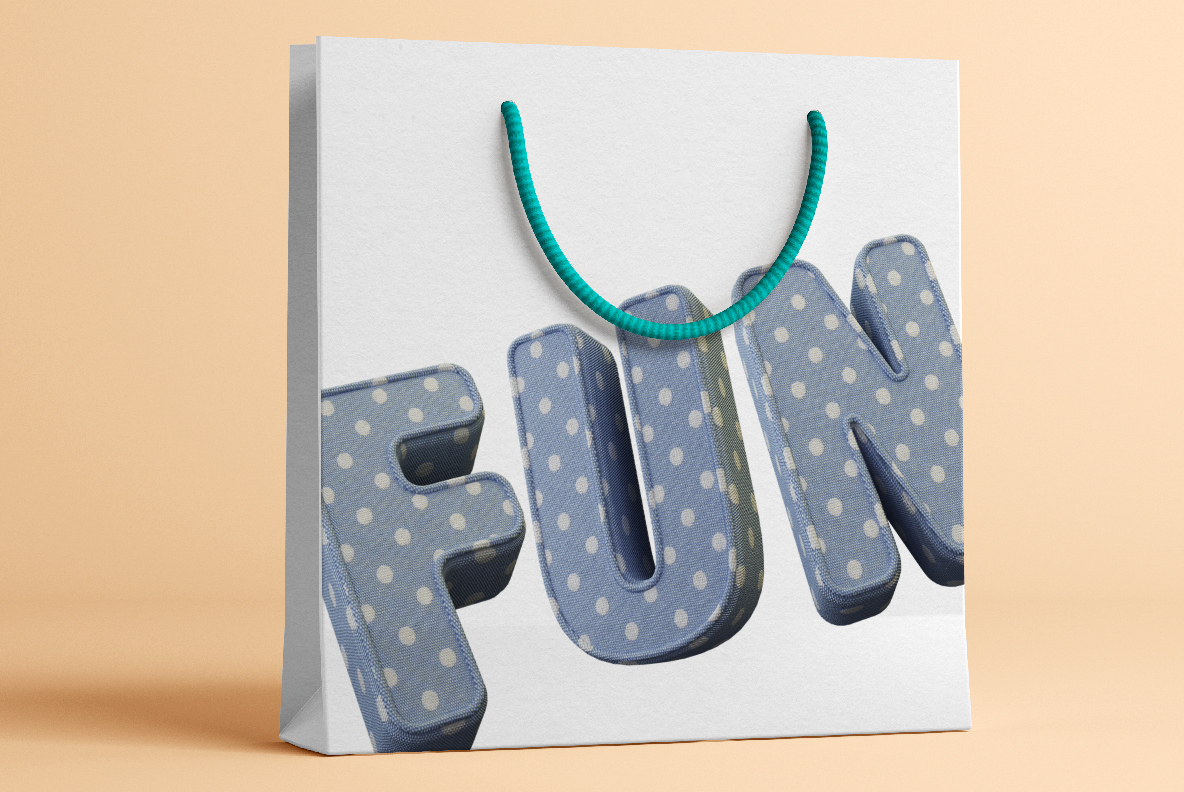 Shopping bag with Fun Textile Font. 3d Opentype Typeface Made By Handmade Font