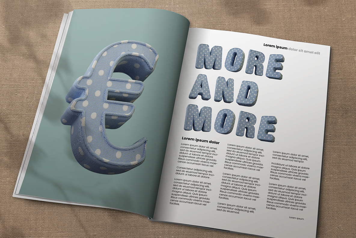 Opened magazine with Fun Textile Font. 3d Opentype Typeface Made By Handmade Font