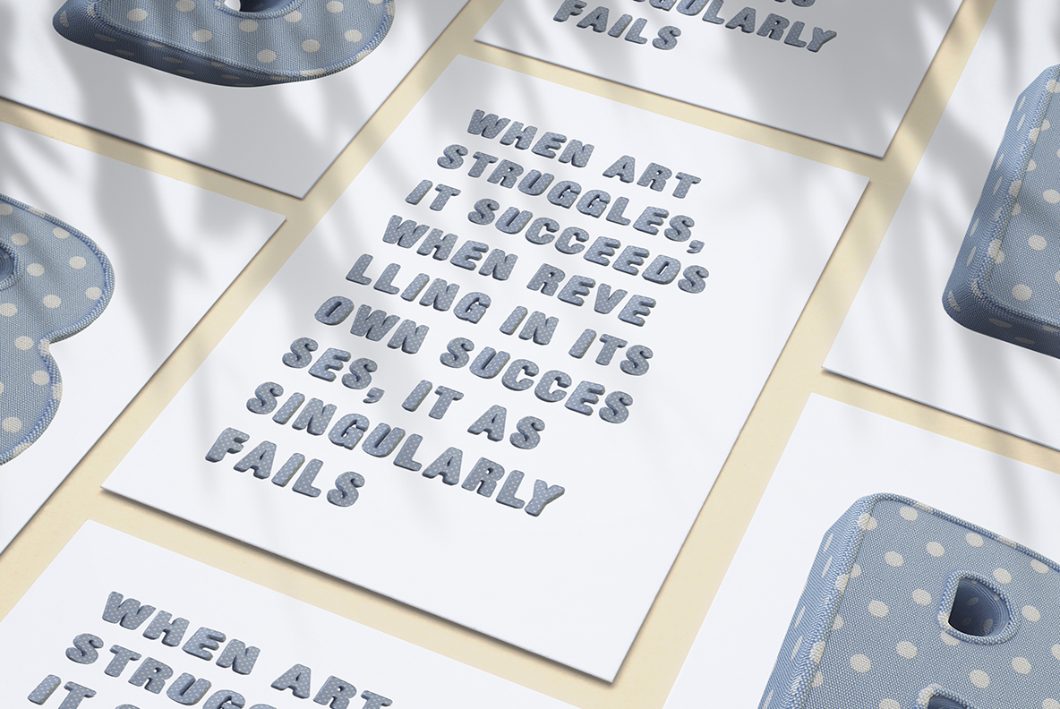 Poster with Fun Textile Font. 3d Opentype Typeface Made By Handmade Font