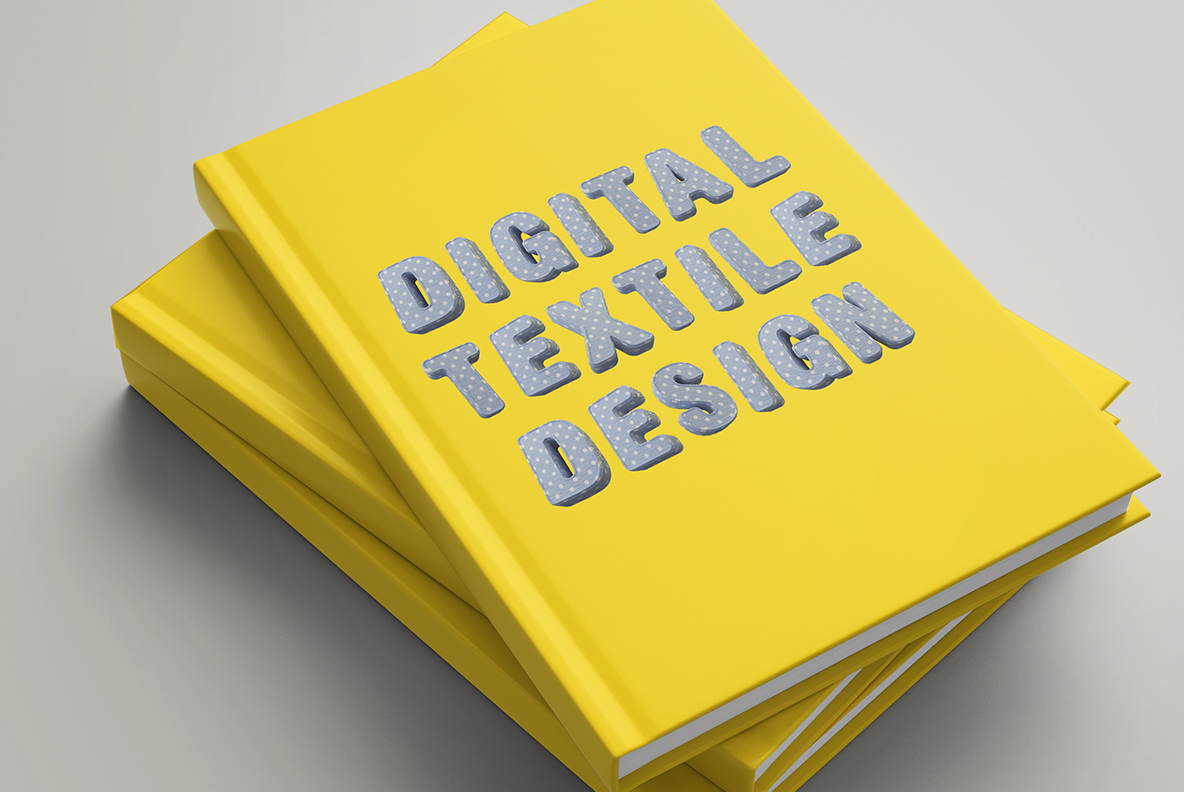 Yellow book cover with Fun Textile Font. 3d Opentype Typeface Made By Handmade Font