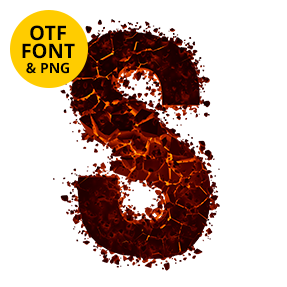 Letter S of the Hellrock Font. Fire OpenType Typeface Made By Handmade Font.