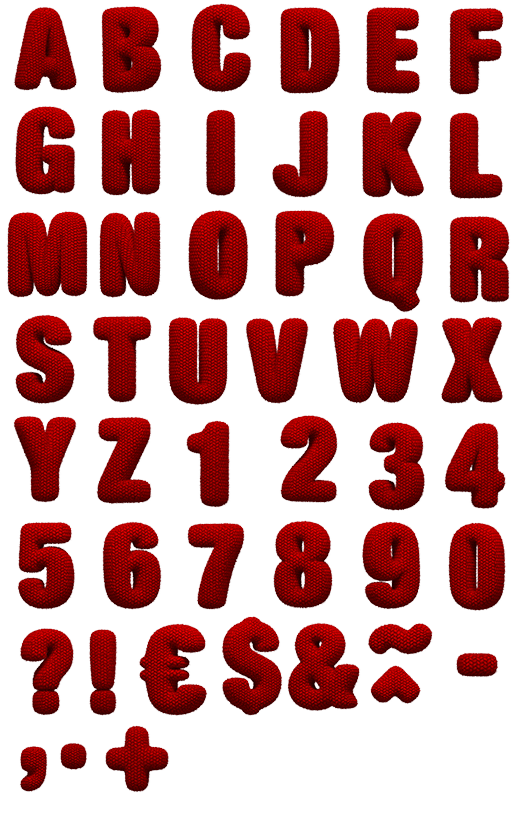 Knitted Red soft Font