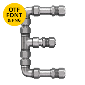 Letter E Of The Pipe Font. Plumbing OpenType Typeface Made By Handmade Font