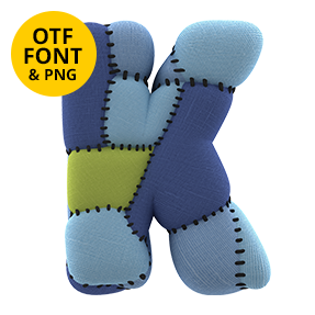 Cover Letter K Of The Toy Font. Kids OpenType Typeface Made By Handmade Font