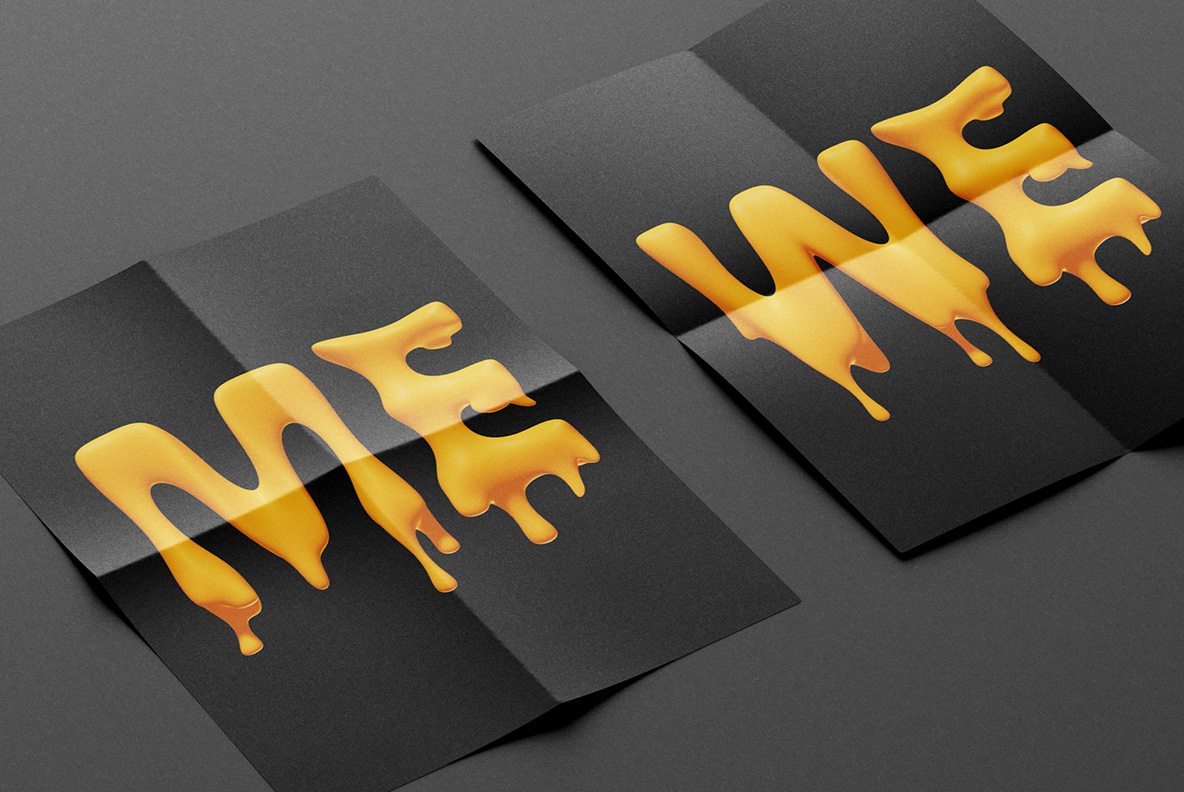 Melting Font OpenType Typeface SVG. Two posters with melting handmade font