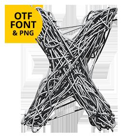 Metallic Web Font Letter X OpenType typeface