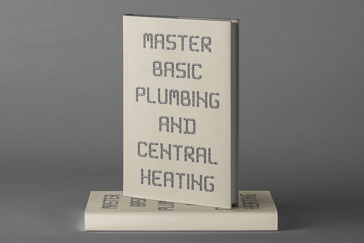 White book cover with Pipe Font. Plumbing OpenType Typeface Made By Handmade Font