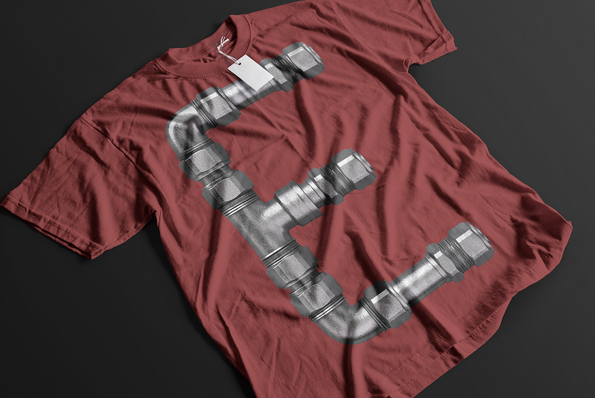 Red t-shirt with Pipe Font. Plumbing OpenType Typeface Made By Handmade Font