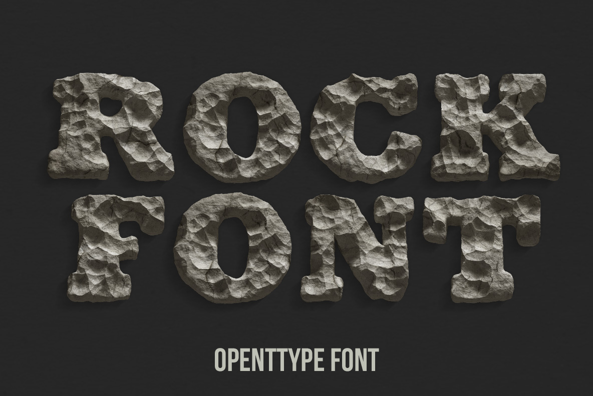 Cover of the Rock Font. Stone OpenType Typeface Made By Handmade Font
