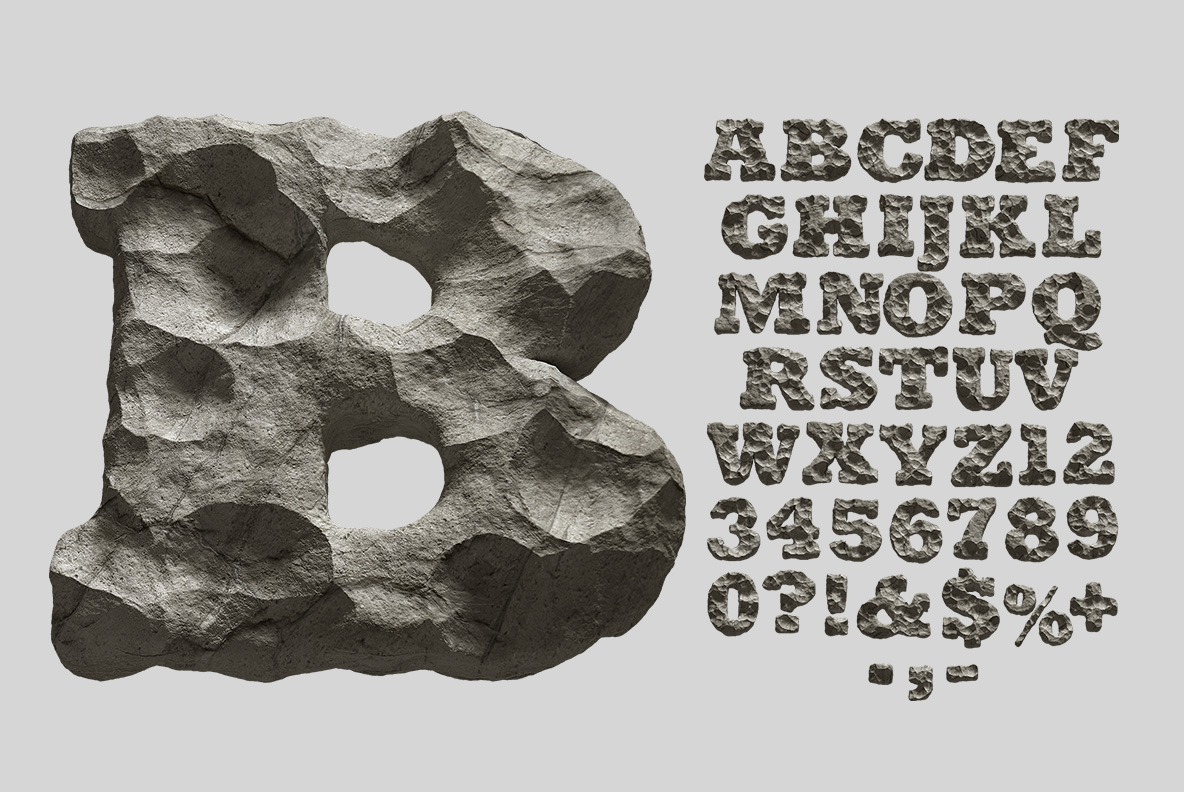 Alphabet of the Rock Font. Stone OpenType Typeface Made By Handmade Font