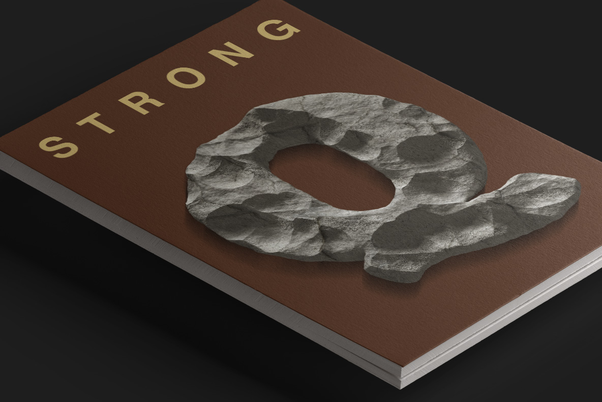 Magazine covet with Rock Font. Stone OpenType Typeface Made By Handmade Font