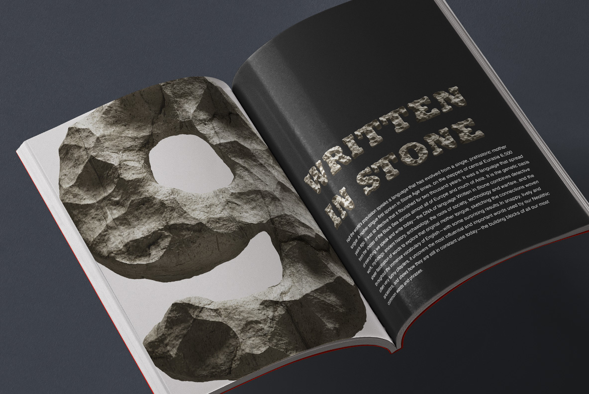 Opened magazine with Rock Font. Stone OpenType Typeface Made By Handmade Font