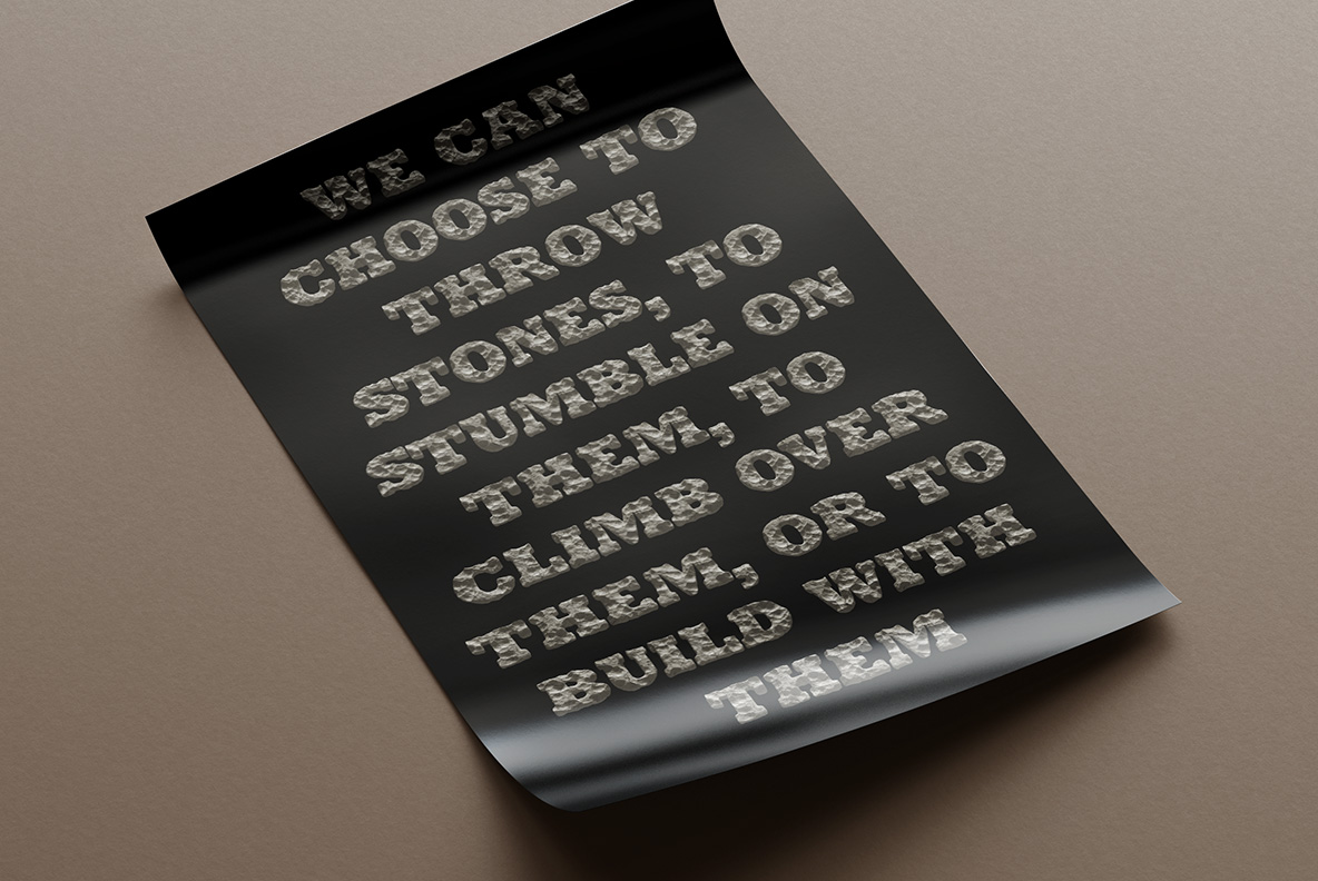 Black poster with Rock Font. Stone OpenType Typeface Made By Handmade Font