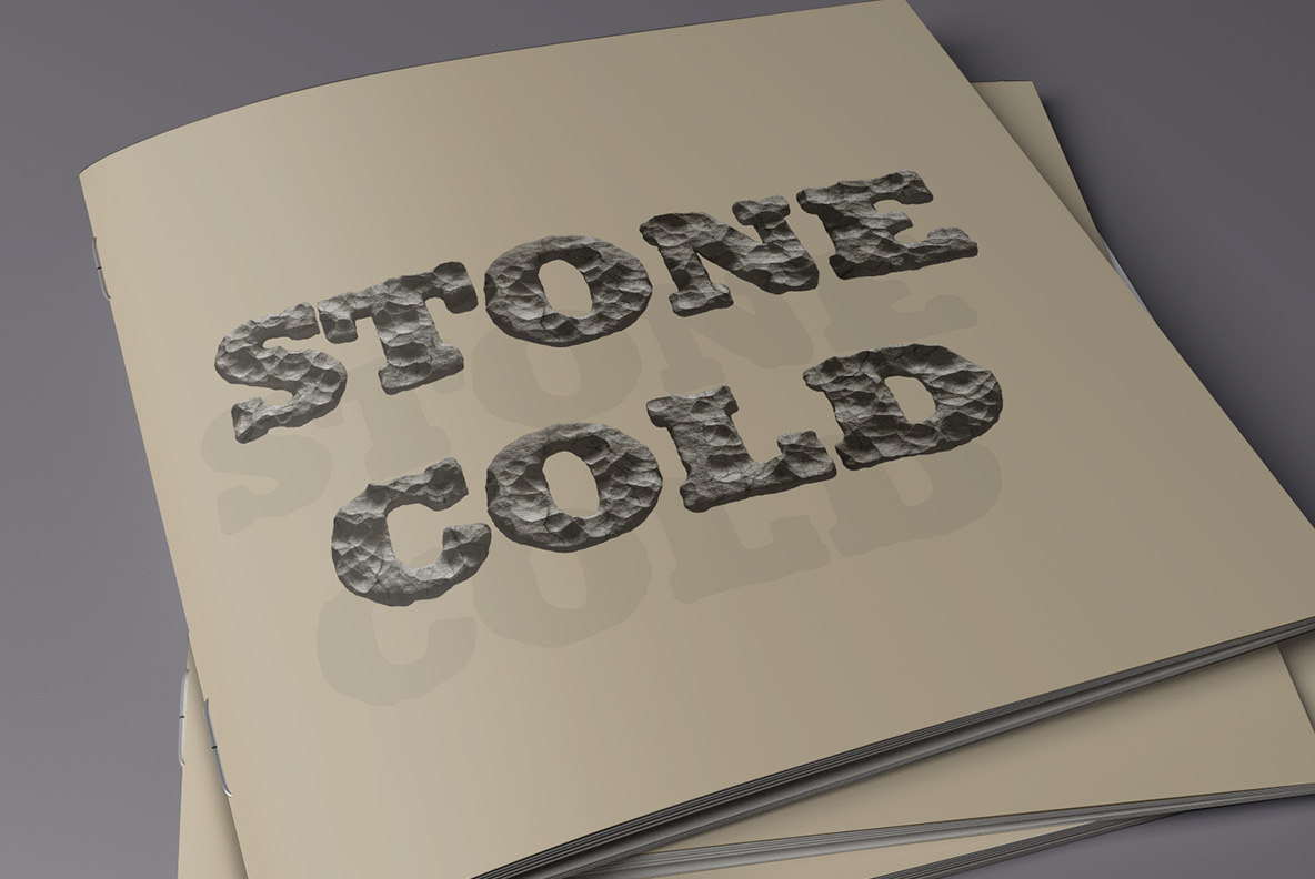 Catalogue cover with Rock Font. Stone OpenType Typeface Made By Handmade Font