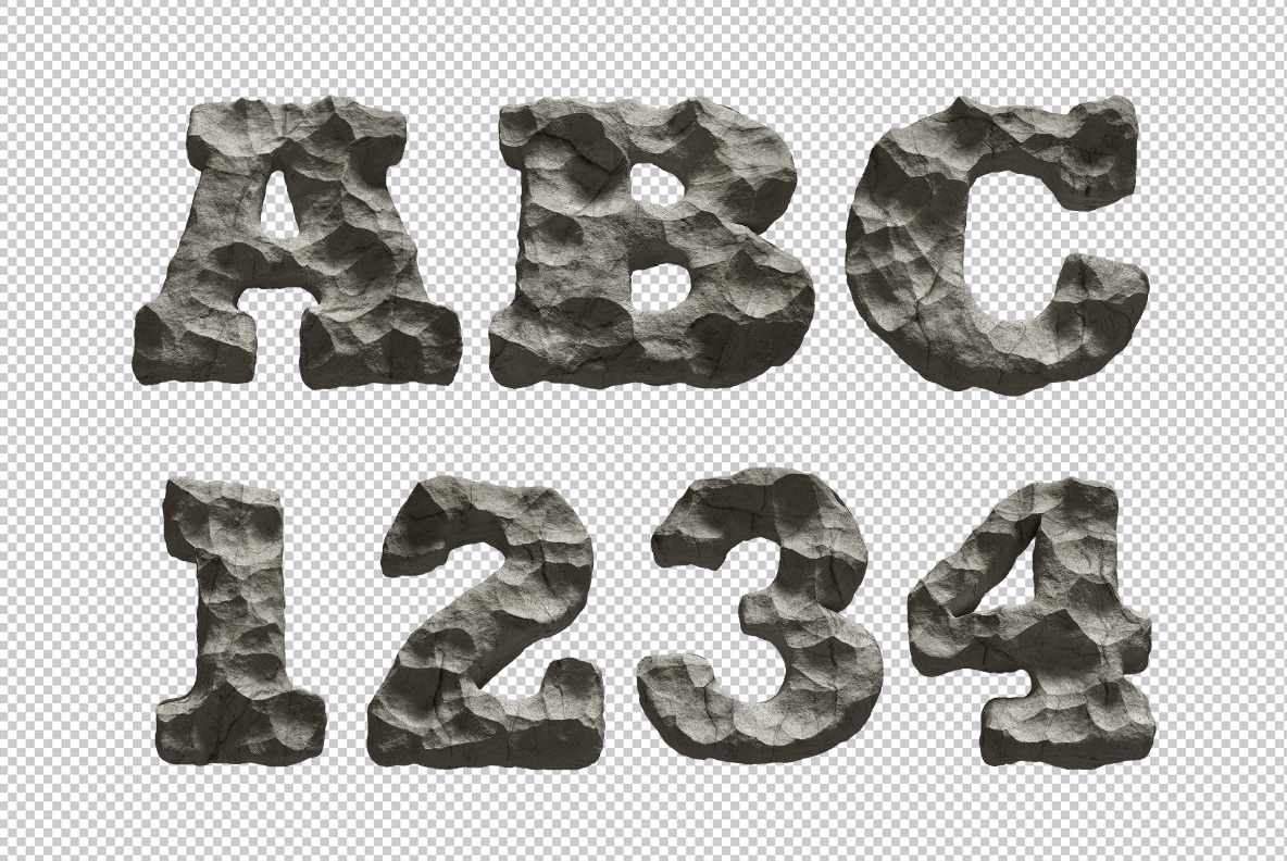 Photoshop test with Rock Font. Stone OpenType Typeface Made By Handmade Font