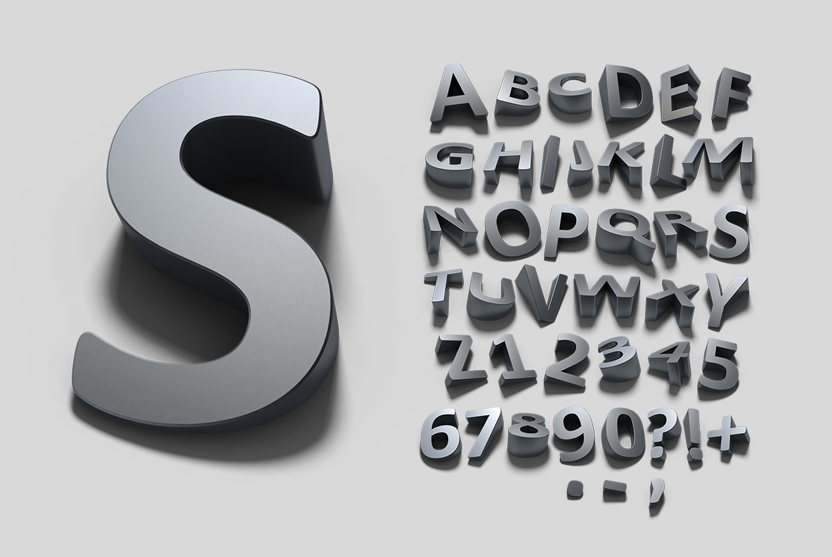 Alphabet of the Shadow Font OpenType Typeface Made By Handmade Font