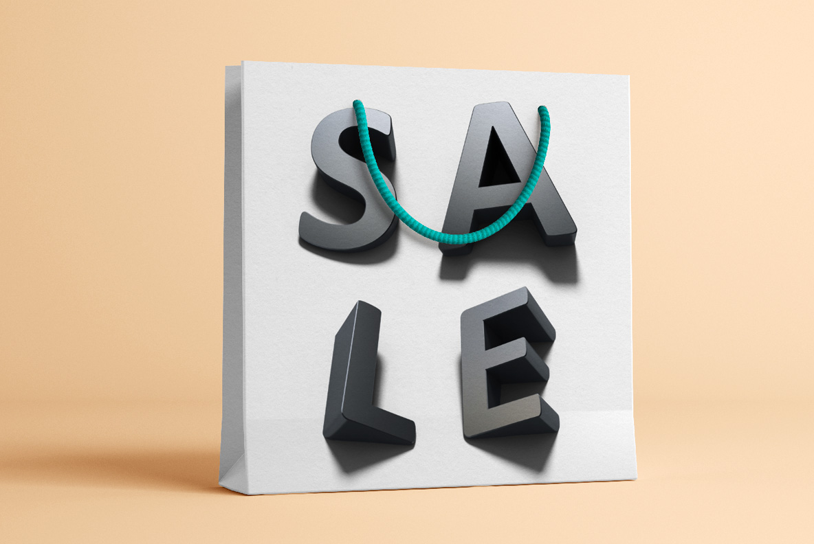 Shopping bag with Shadow Font OpenType Typeface Made By Handmade Font