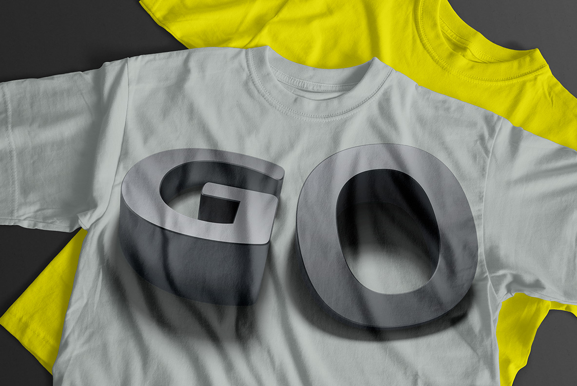 T-Shirt with Shadow Font OpenType Typeface Made By Handmade Font