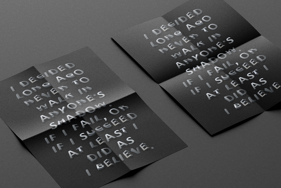 Black posters with Shadow Font OpenType Typeface Made By Handmade Font