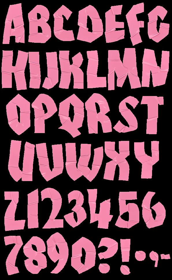 Sticker pink Font
