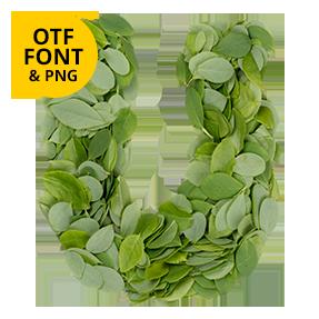 Letter U. Summer Leaves Font. Green OpenType Font Made By Handmade Font.