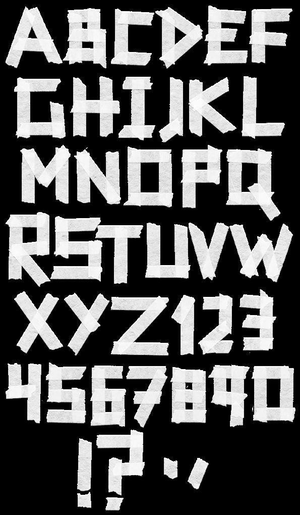 Tape White handmade Font