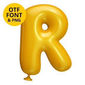 Cover of the Yellow Balloon Font. Fun OpenType Typeface Made By Handmade Font Letter R