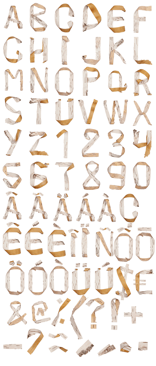 Birch Bark nature Font
