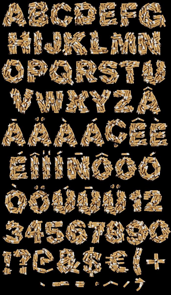 Cigarette Butt smoking Font