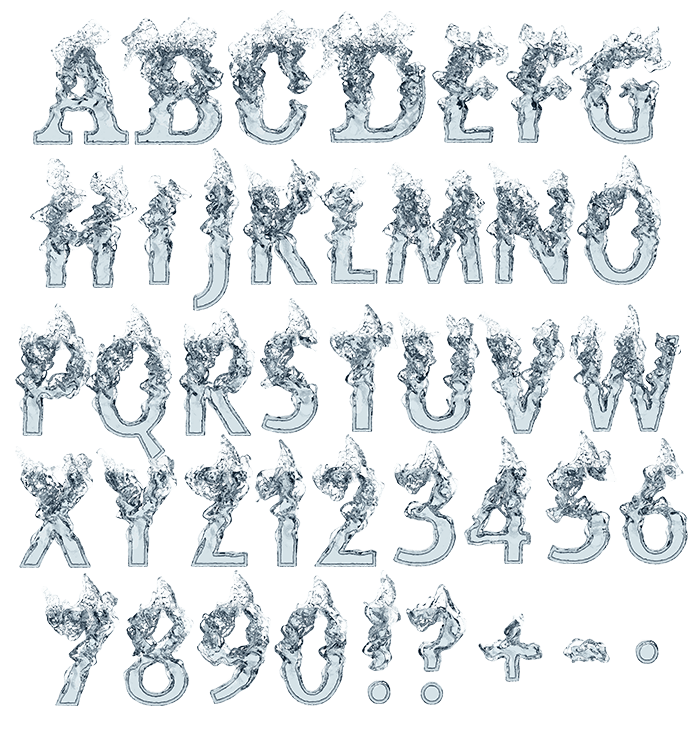 Clear Water white Font