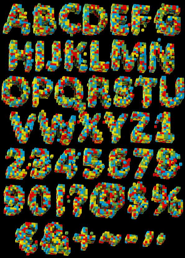 3d Pixel color Font