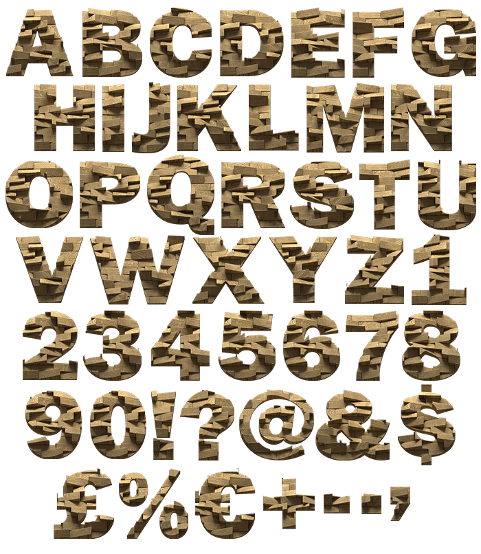 Abstract Blocks wooden Font
