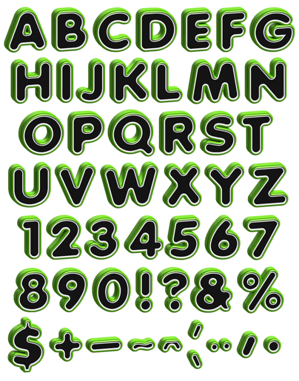 Bevel Profile green Font