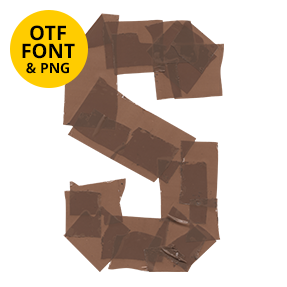 Letter S Of The Brown Tape Font. Opentype Typeface Made By Handmade Font